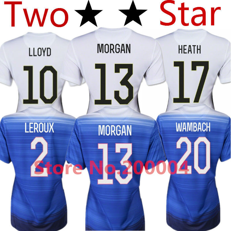 Soccer Jersey Women Jersey 2015 USA Female 15/16 WAMBACH MORGAN USA Lady Home White Away Blue T Shirt HEATH Top Thailand Quality(China (Mainland))