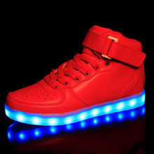 Led Shoes For Adults 8 Colors Led Luminous Shoes Men Casual High Top Women Shoes Light Up Black White