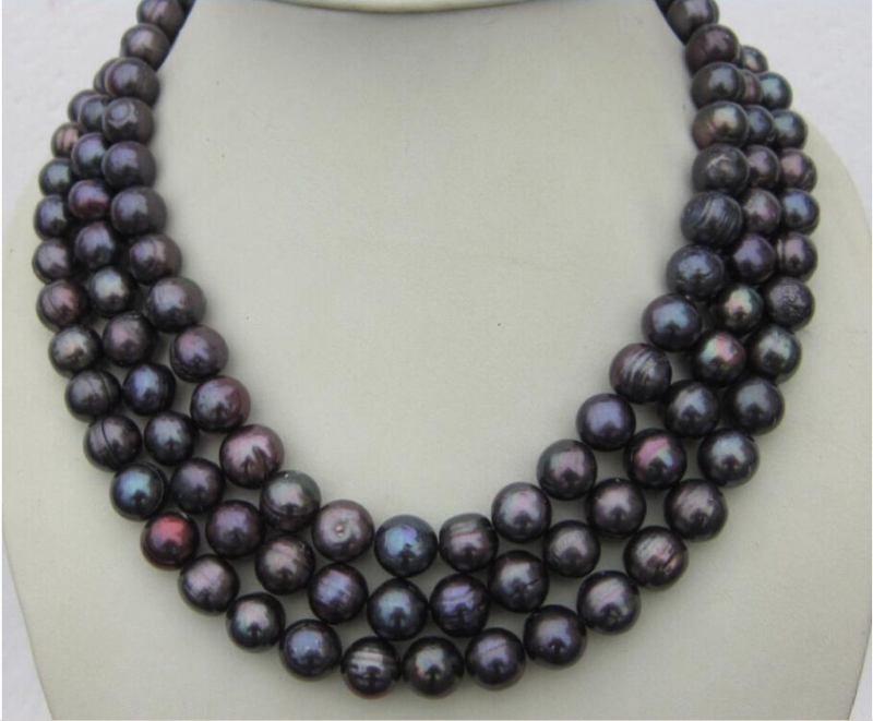 Natural 10-12mm BLACK TAHITIAN PEARL NECKLACE(China (Mainland))