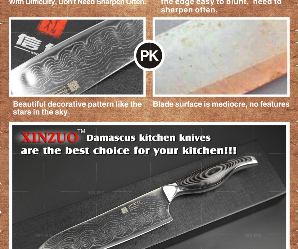 "Buy 7"" inch santoku knife Japanese VG10 & 73 layers Damascus steel kitchen knife sharp japanese chef knife wood handle free shipping cheap"