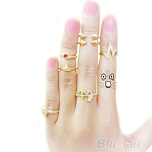 7Pcs/set Fashion Cute Skull Anchor Gold Cut Above Knuckle Ring Band Midi Rings Mix  Hot Selling for Women