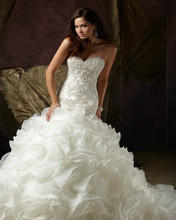 Sweetheart Beaded Organza Chapel Mermaid Wedding Dress