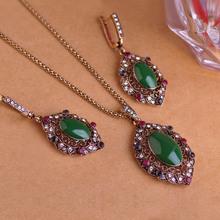 Green Enamel Vintage Jewelry Sets Antique Gold Turkish Necklace Earrings Set Princess Hooks Brincos Oval Turquoise Pendant Colar(China (Mainland))