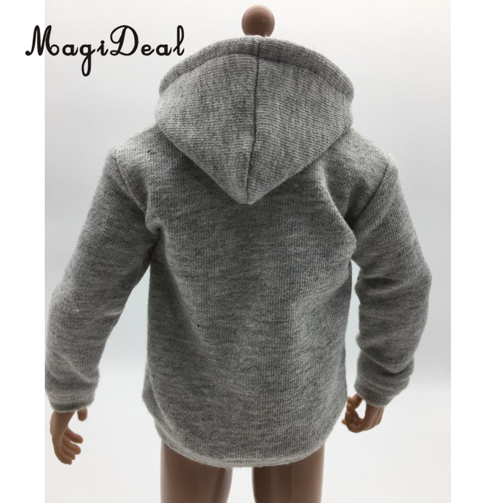 1/6 Scale Mens Man Gray Zip Up Hoodie Sweatshirt Clothes for 12 Inch Action Figure Male Body Hot Toys Accs