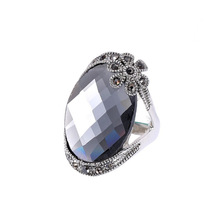 Luxury High Quality Super Large Crystal Ring Fashion Long Section Platinum Plated Ring Jewelry For Women  ///AA282458729