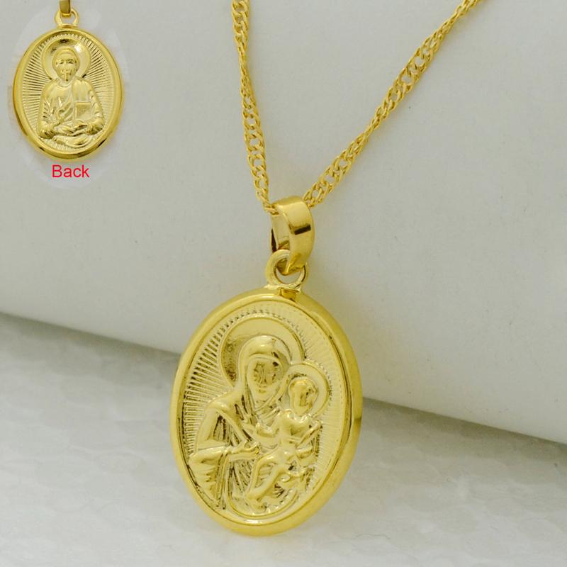 Virgin Mary/Jesus Image Pendant Necklace 22k Gold Plated Filled Catholic Church Jewelry,Russian Orthodox Church Cross Women Men(China (Mainland))