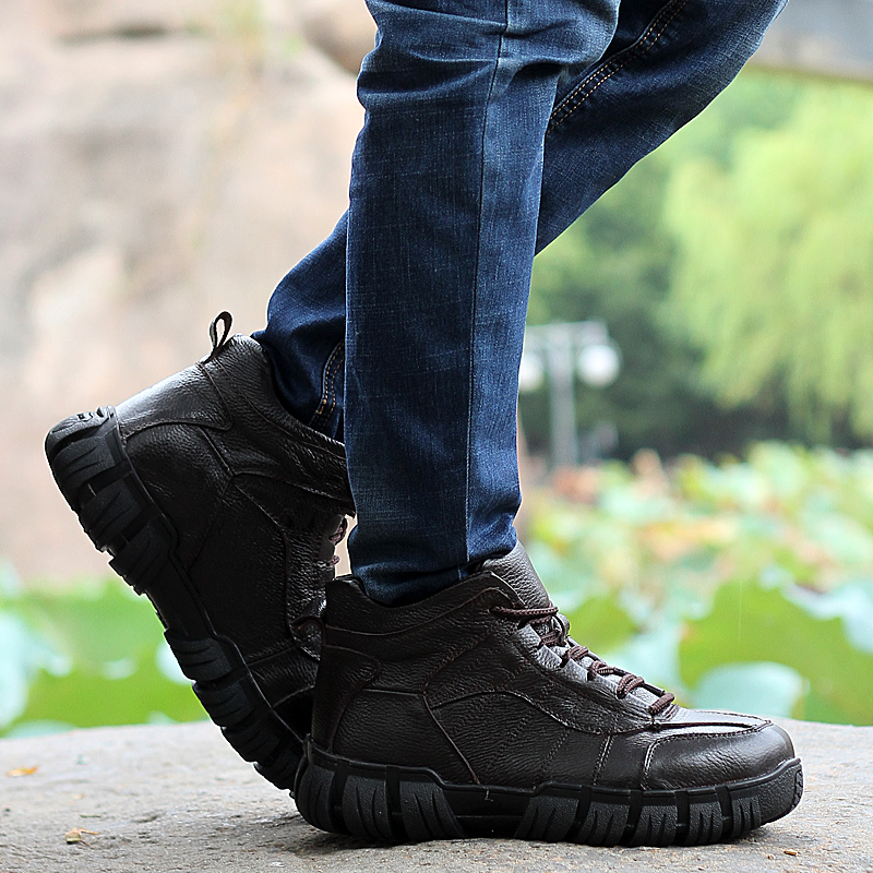 New Fashion Men Ankle Boots Plus Size Men Classical Boots Fur Genuine Leather Boots Male Winter Boots Warm Shoes Zapatos Hombre