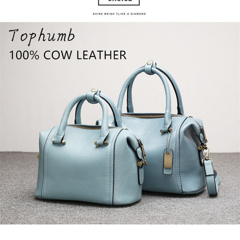 Fashion Women 100% Genuine Leather Handbags Second Layer COW Leather Shoulder Boston Bags Pink Black Blue Color For Choice(China (Mainland))