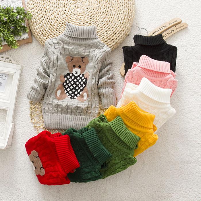 New Kids Sweater Baby Boys Girls Sweater Childrens Autumn Winter Spring Bear with Heart Sweater Kids Unisex Turtleneck Sweater(China (Mainland))