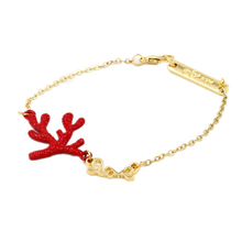 Fashion 2015 New Women Charm Bracelets Jewelry Vintage Red Coral Bracelet HB488(China (Mainland))