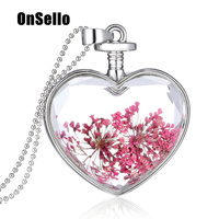OnSello Fashion Glass Heart Locket Necklace Dried Flower Pendant Silver Color