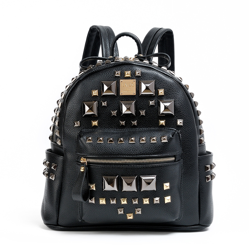 Famous Brand High Quality PU Leather Women Punk Backpack School Backpack Rock Rivets For Girls<br><br>Aliexpress