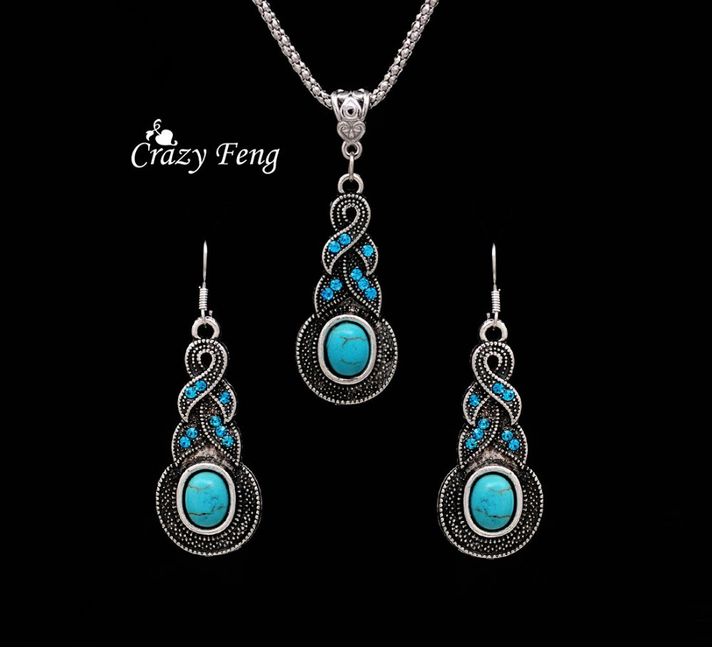 Free Shipping Women Jewellery Tibetan Silver CZ Crystal Chain Pendant Necklace Earrings Set Round Turquoise Jewelry sets(China (Mainland))