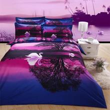 Buy Purple Sunset 3D Painting Swan Lake Tree Designer Bedding Set Queen Size 4pcs 100% Cotton Duvet Cover Bedsheet Pillowcase for $75.24 in AliExpress store