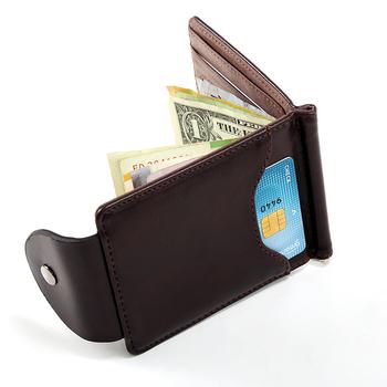 Korea fashion Brown grey color Money clips high quality leather men wallets hasp mini purses vintage men wallet XF127