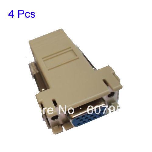FreeShipping 4x Grey VGA Female Extender to LAN CAT5 CAT6 RJ45 KIT Network Cable Adapter Kit(China (Mainland))