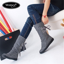 Women Winter Snow Boots Mid-Calf Solid Flats Winter PU Boots Women Warm Plush Boots Ladies Boots Z231(China (Mainland))