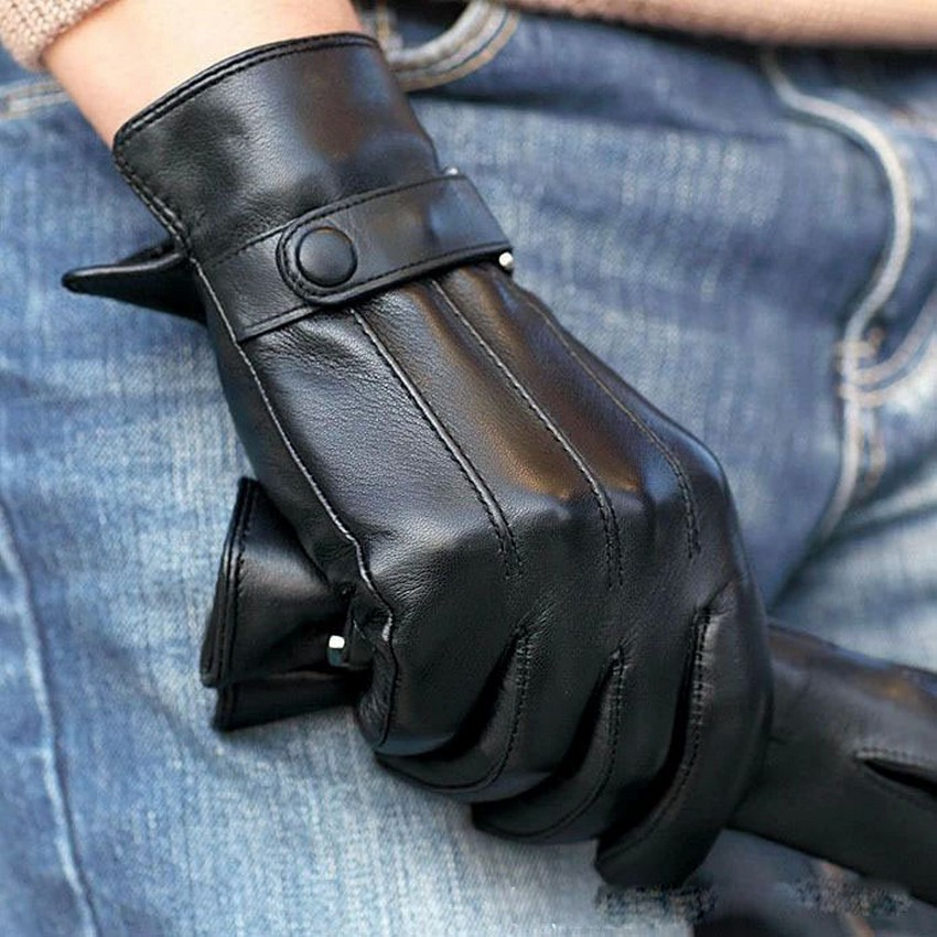 Free Shipping Top Sheepskin Gloves For Men Fashion Real Solid Goatskin Genuine Leather Wrist Winter Driving Glove Sale M021pc(China (Mainland))