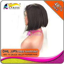 wholesale  bob wig virgin human hair  ,  300% density  lace front  bob wigs human hair  for black women(China (Mainland))