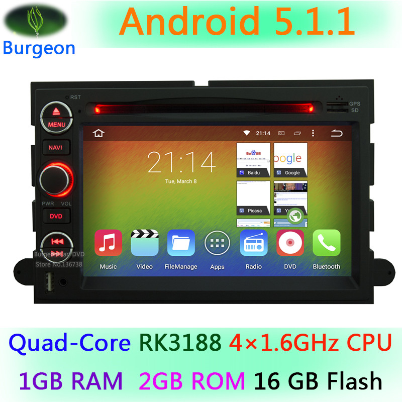 HD 1024X600 Quad Core Android 5.1.1 Car DVD For Ford Fusion Explorer 500 F150 F250 F350 Edge Expedition Mustang Radio GPS Stereo(China (Mainland))