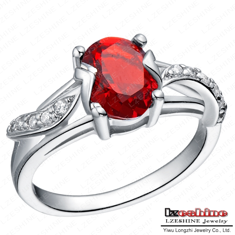 Couples Enternity Ring Real Platinum Plated Red Ruby Ring Luxury Brand Jewelry WX RI0095
