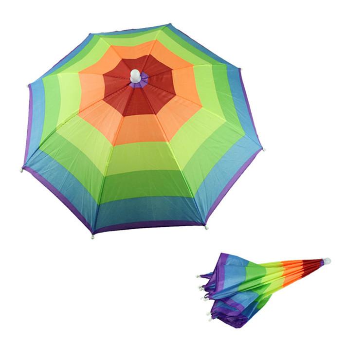 Hot-sale New Umbrella Hat Cap Multicolor Rainbow Brock Hands Free Head Umbrella Hat Sun Rain Cap Guarda Chuva Free Shipping 1pcs(China (Mainland))