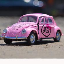 new arrival pink 132 hello kitty car alloy mini toys car beetle children toy hotwheels cars model kids gift antistress toys
