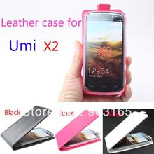 50pcs/lot 2014 hot  flip leather case for Umi  x2 ,for Umi  x2  genuine Leather Case Flip cover +free shipping