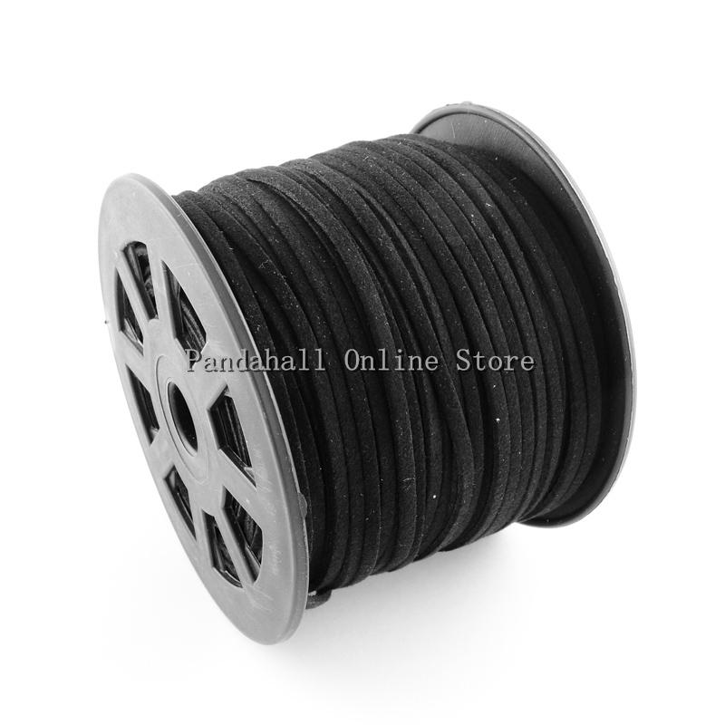 Faux Suede Cord,  Black,  about 3mm wide,  1.5mm thick,  100yards/Roll