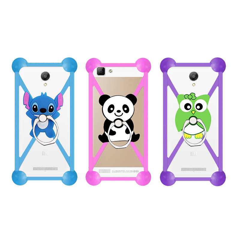 Fashion Cartoon Ring Stand Holder Soft Silicone Case For Mywigo City 2 Cell Phone Universal 3.5 - 5.5 Inch Bumper Frame Cover(China (Mainland))