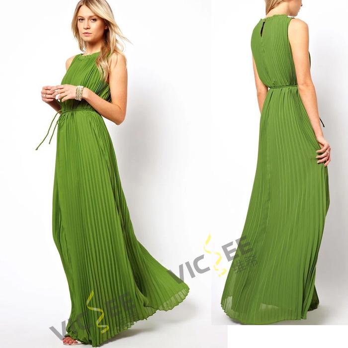 fashion hot selling summer romantic bohemian sleeveless pleated green floor-length chiffon dress VCS020 - VICSEE International Apparel Ltd store