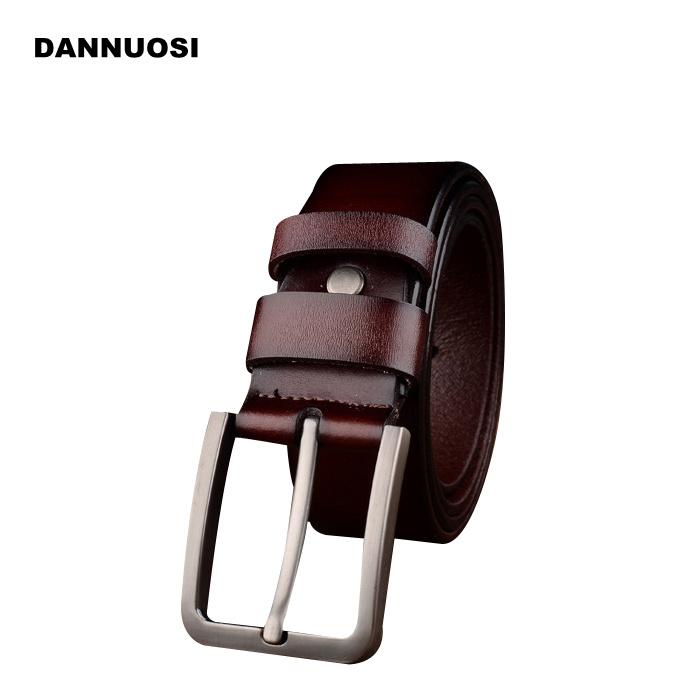 [DANNUOSI]2016 new men's 100% pure leather belt belt pin buckle belt high quality luxury fashion brand jeans belt120cm(China (Mainland))