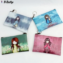 Cute Girl's coin purse,women Printing change purse,lady zipper zero wallet,Female PU leather card bag,clutch mobile phone bag(China (Mainland))