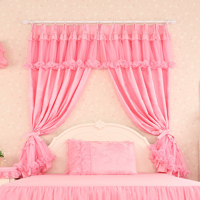 Luxury curtains for living room pink lace cortinas tulle sheer modern