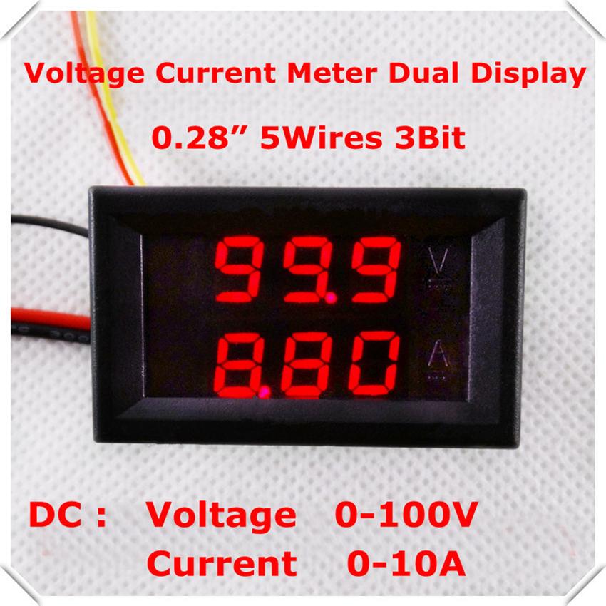RD 0.28 Digital Ammeter Voltmeter DC 0-100V/10A 3 bit AMP Car voltage current meter dual LED Display color Red+Red [4 pcs/lot](China (Mainland))