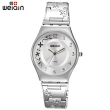 WEIQIN Silver Women Watches Luxury High Quality Water Resistant Montre Femme Stainless Steel 2016 Dress Woman Wrist Watches(China (Mainland))