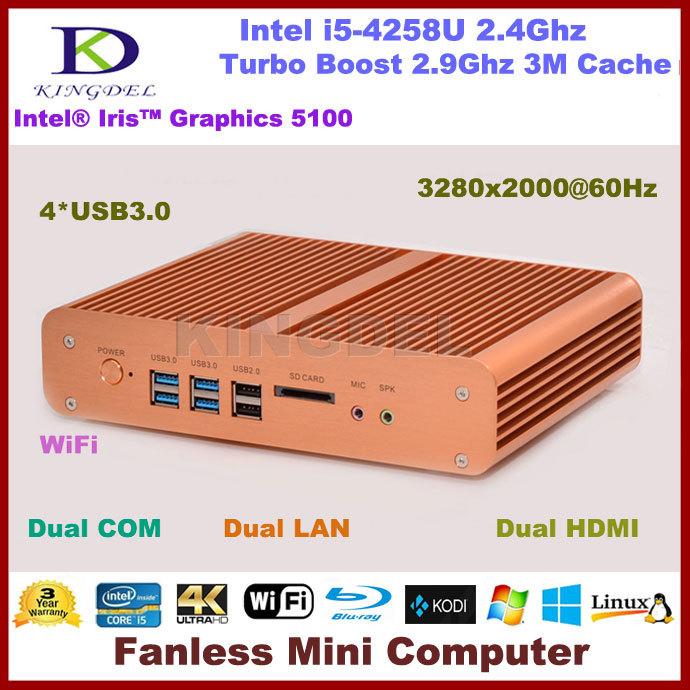 2016 Latest Fanless Mini PC Desktop Computer 4K HTPC Intel i5 4258U CPU 8GB RAM 1TB HDD WiFi 4*USB 3.0 Dual HDMI+LAN+COM 3D Game(China (Mainland))