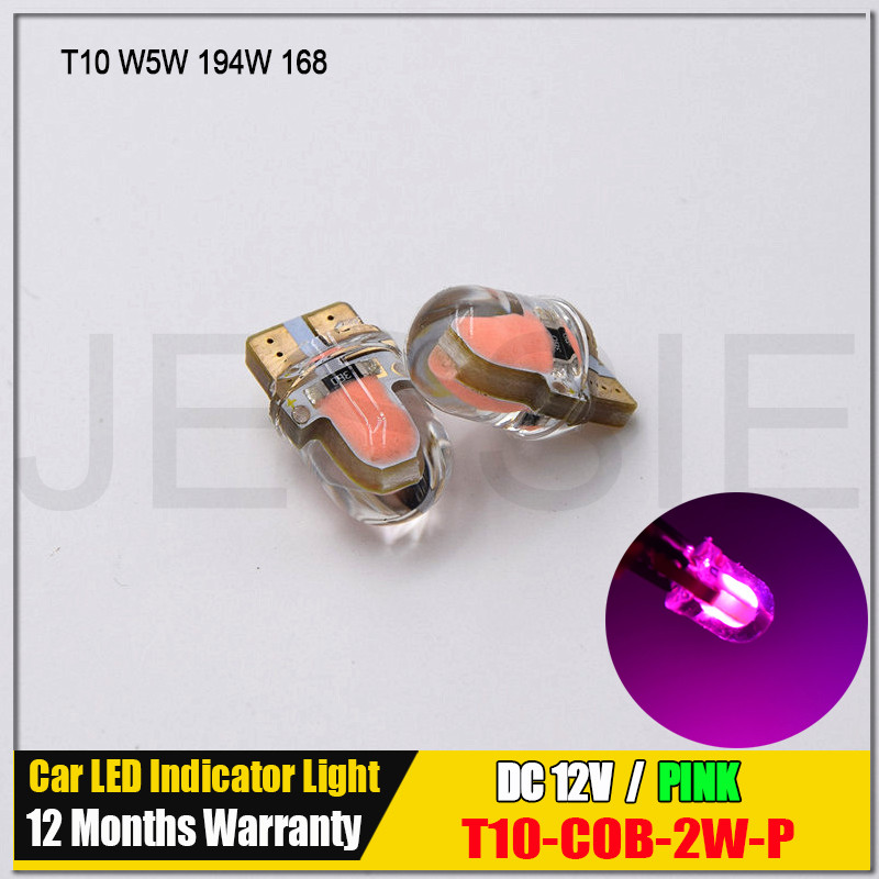 2x T10 Silica Gel LED W5W Pink Lights Car Side Direction Indicator License Plate Light Door Map Festoon Dome Lamp Bulbs DC 12V(China (Mainland))