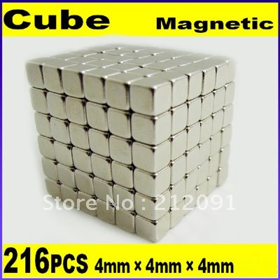 Freeshipping N35 4MM 216 Magnetic Blocks neo neodymium magnetic square cube, Rare Earth Magnets With Retail box,Express Optional(China (Mainland))