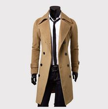 2016 new X-Long woolen trench coat M-3XL Slim Casual long men's trench coat Brand Mens Overcoat Double-Breasted Jackets & Coats()