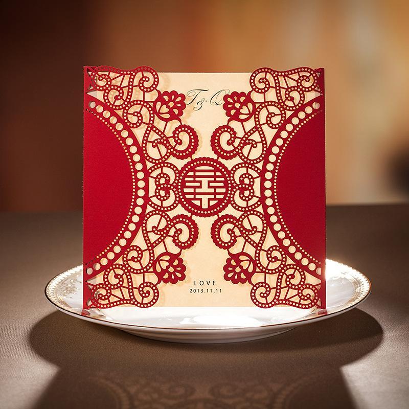 Brand Wedding Invitation Card Red Laser Design Wedding Invitations Printable Blank Inner Sheets