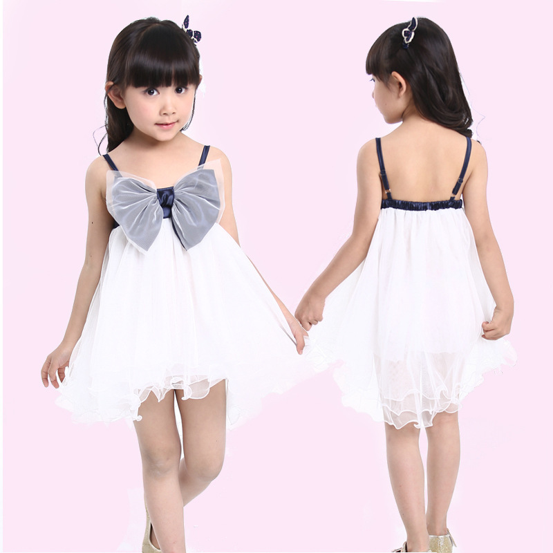 2015 New summer princess dancing party gown formal tutu dress candy color children girls big bowknot dresses kids clothes  -  Sky Trade Co., Ltd. store