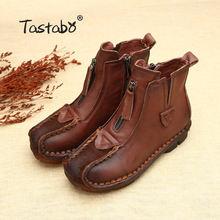 Tastabo Da Chính Hãng Mắt Cá Chân Khởi Động Nhung Handmade Lady mềm Phẳng giày thoải mái Giản Dị Giày Da Đanh giày của Phụ N(China)