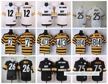 100% Stitiched,Pittsburgh Steelers,Ben Roethlisberger,artie burns,Troy Polamalu,leveon bell, Antonio Brown,Bryant,customizable(China (Mainland))