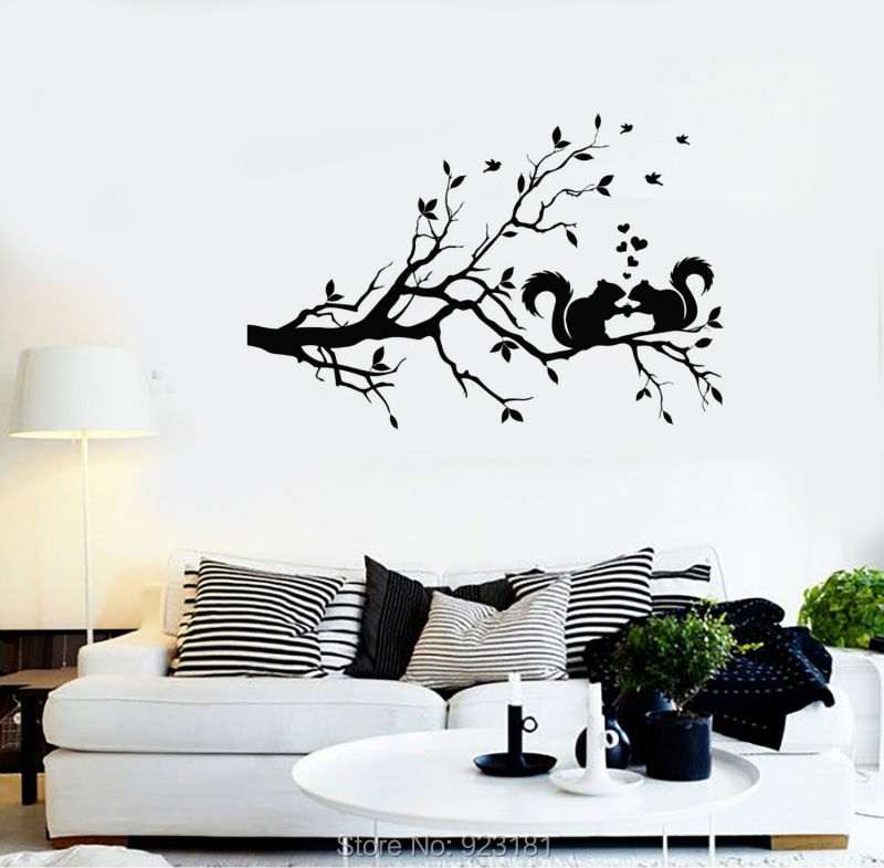 Tree Branch Squirrel Forest Nature Wall Art Sticker Decals Home DIY Decoration Wall Mural Removable Bedroom Decor Wall Stickers(China (Mainland))