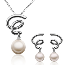 2014 Exquisite Jewelry Set!Platinum Plated Elegant Necklace/Earrings,Fresh Water Pearl Pendants,For Women Free ShippingLKS316(China (Mainland))