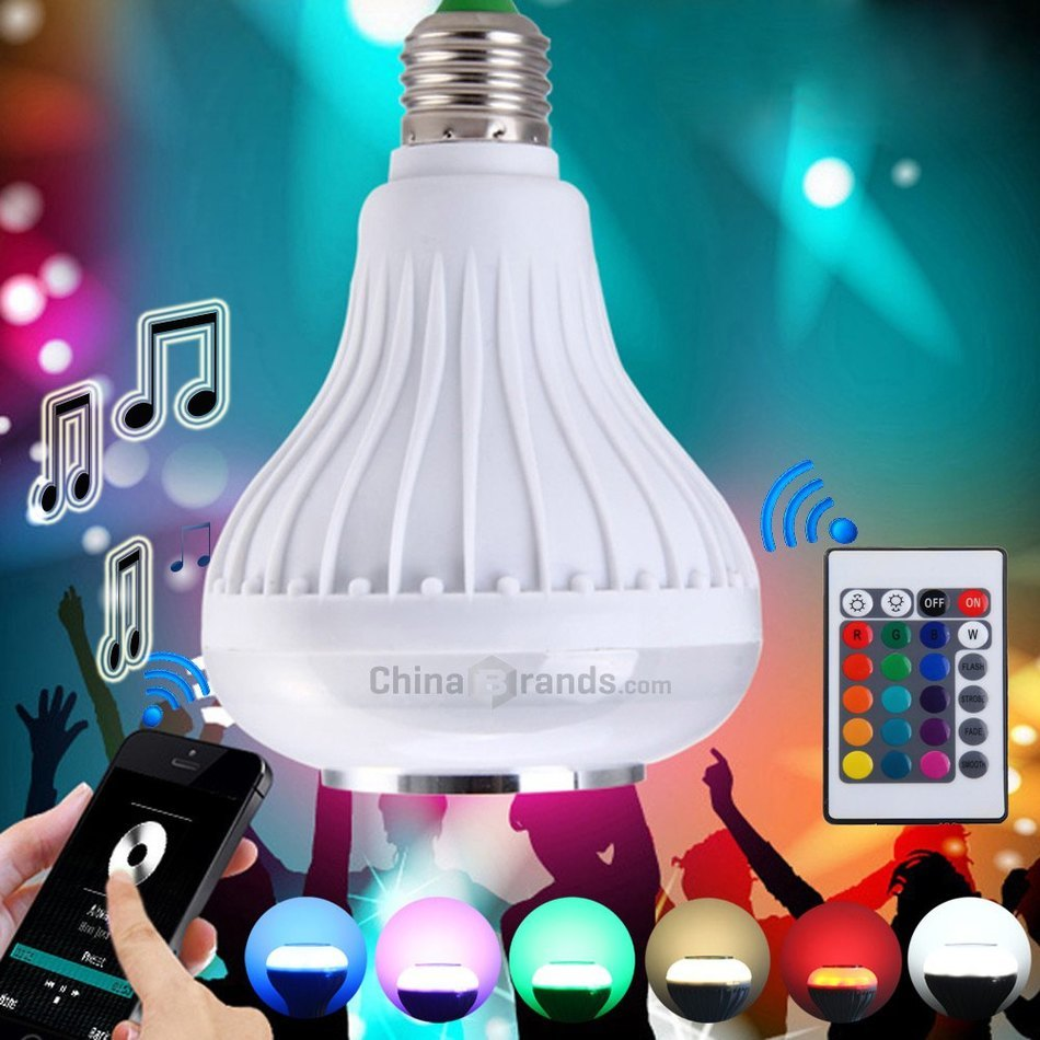 2016 Smart LED Music Speaker Portable Wireless RC Colorful Bluetooth 3.0 LED Lamp Speaker Dimmable LED Light Bulb Color Changing(China (Mainland))