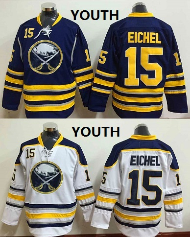 Youth Buffalo Sabres #15 Eichel Navy and White Kids Ice Hockey Jersey,size S/M and L/XL
