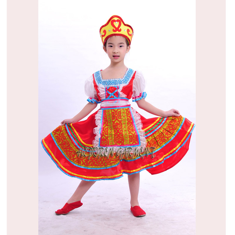 High Quality Customized Children Russian Folk Dance Dress With Headwear Head,Kids Russia Stage Clothes Dancewear Drop Shipping Одежда и ак�е��уары<br><br><br>Aliexpress