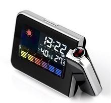 Digital Weather LCD Clock Snooze Alarm Clock Projector Color Display LED Backlight Table Desktop Clocks Projector(China (Mainland))